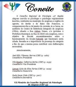 CONVITE SUBSEDE ARAPIRACA & REGIÃO
