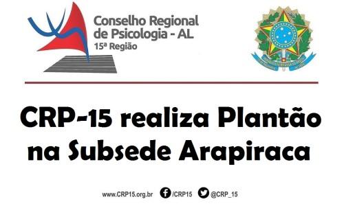 Plantão Arapiraca CRP-15 2017
