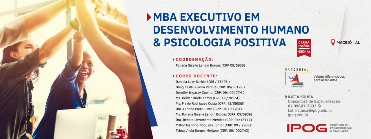 Sorteio de meia-bolsa para MBA Executivo em Desenvolvimento Humano & Psicologia Positiva
