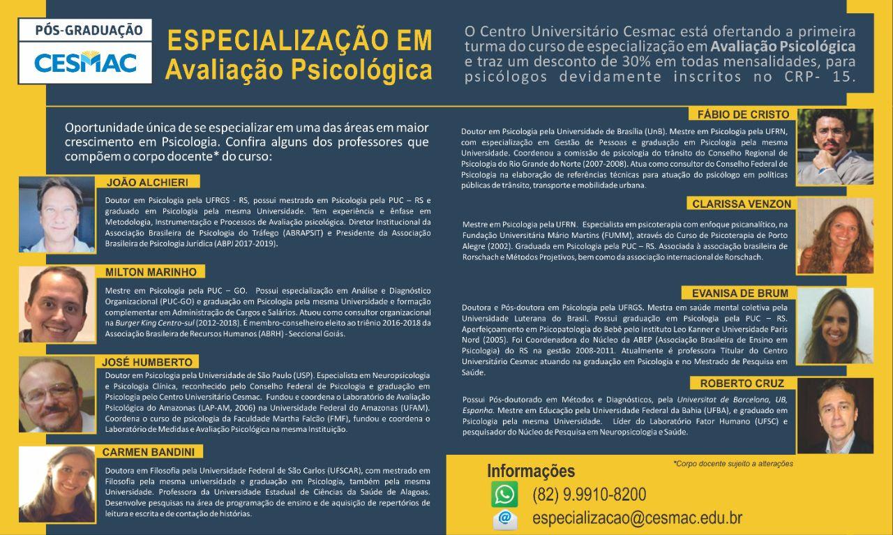 CESMAC: Especialização em Avaliação Psicológica