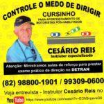 Cesário Reis (instrutor especializado) para aperfeiçoamento de motoristas pós-habilitados